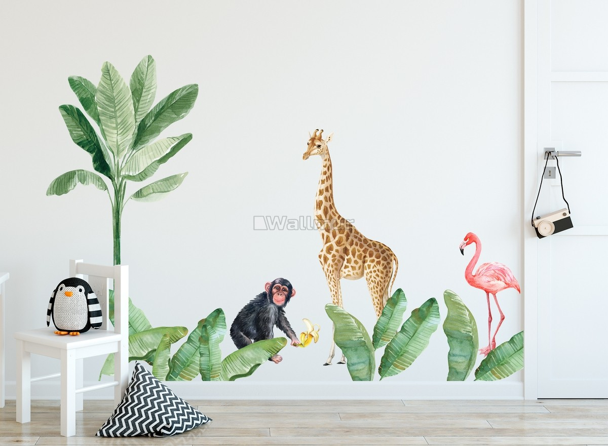 Kids Tropical Animals with Palm Leafs Wall Decal Sticker