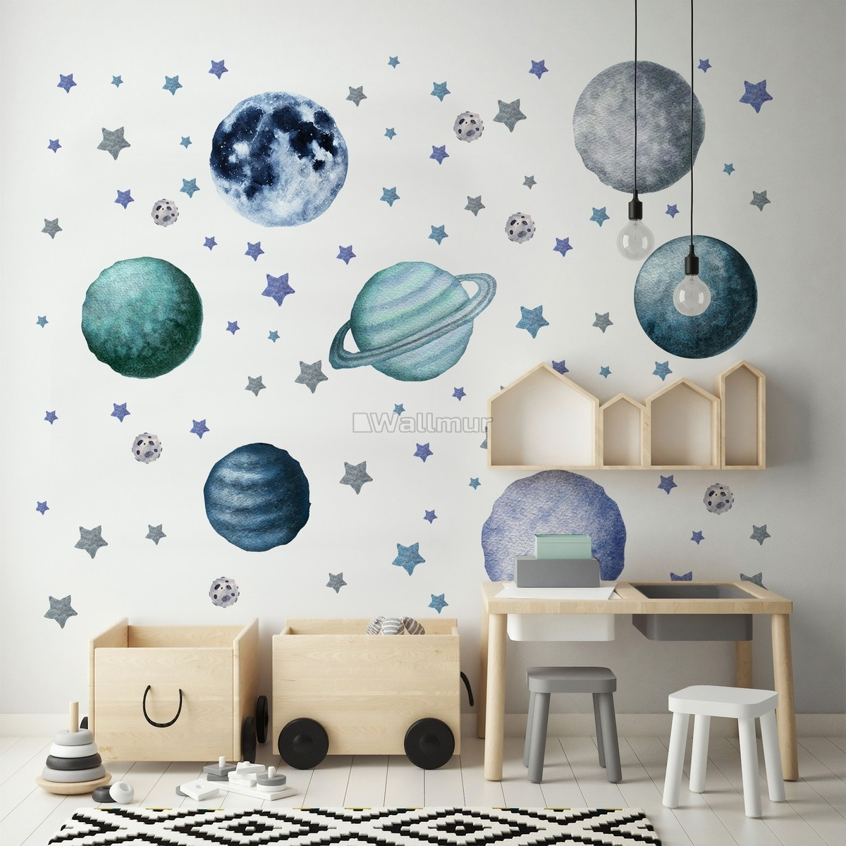 Watercolor Planets and Stars Wall Decal Sticker