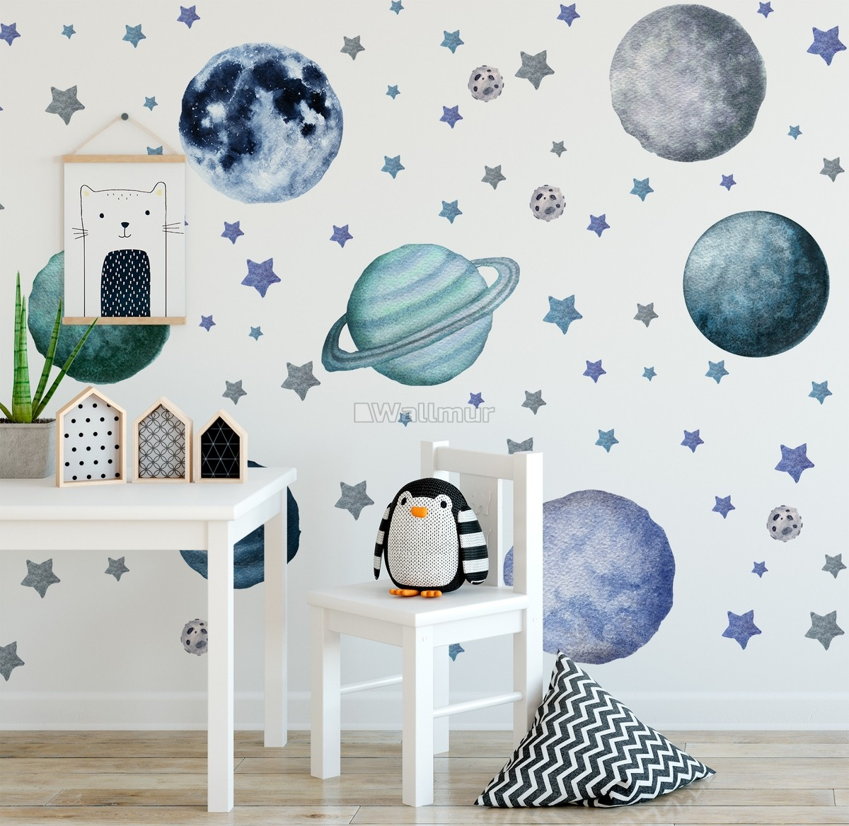 Watercolor Planets And Stars Wall Decal Sticker Wallmur