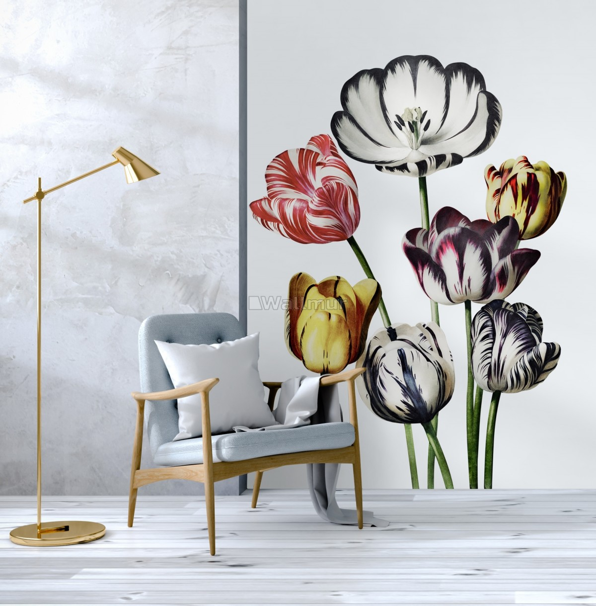 3D Dutch Floral Colorful Tulips Wall Decal Sticker