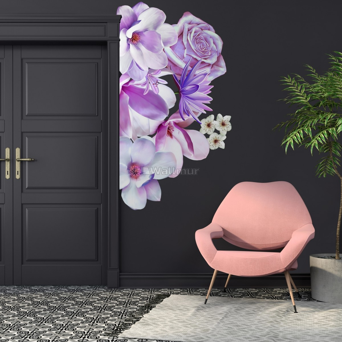 3D Floral Pink Lily Orchid Rose Bouqets Wall Decal Sticker