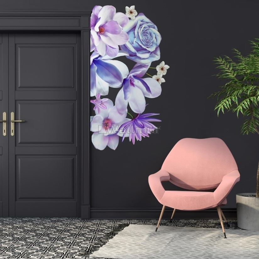 3D Floral Purple Daisy Lily Orchid Flower Bouqets Wall Decal Sticker