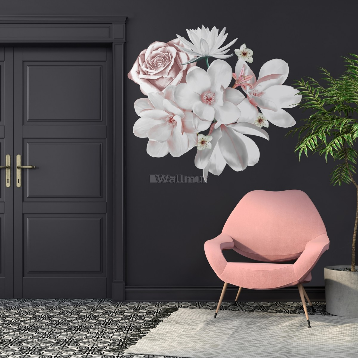 3D Floral White Daisy Lily Orchid Flower Bouqets Wall Decal Sticker