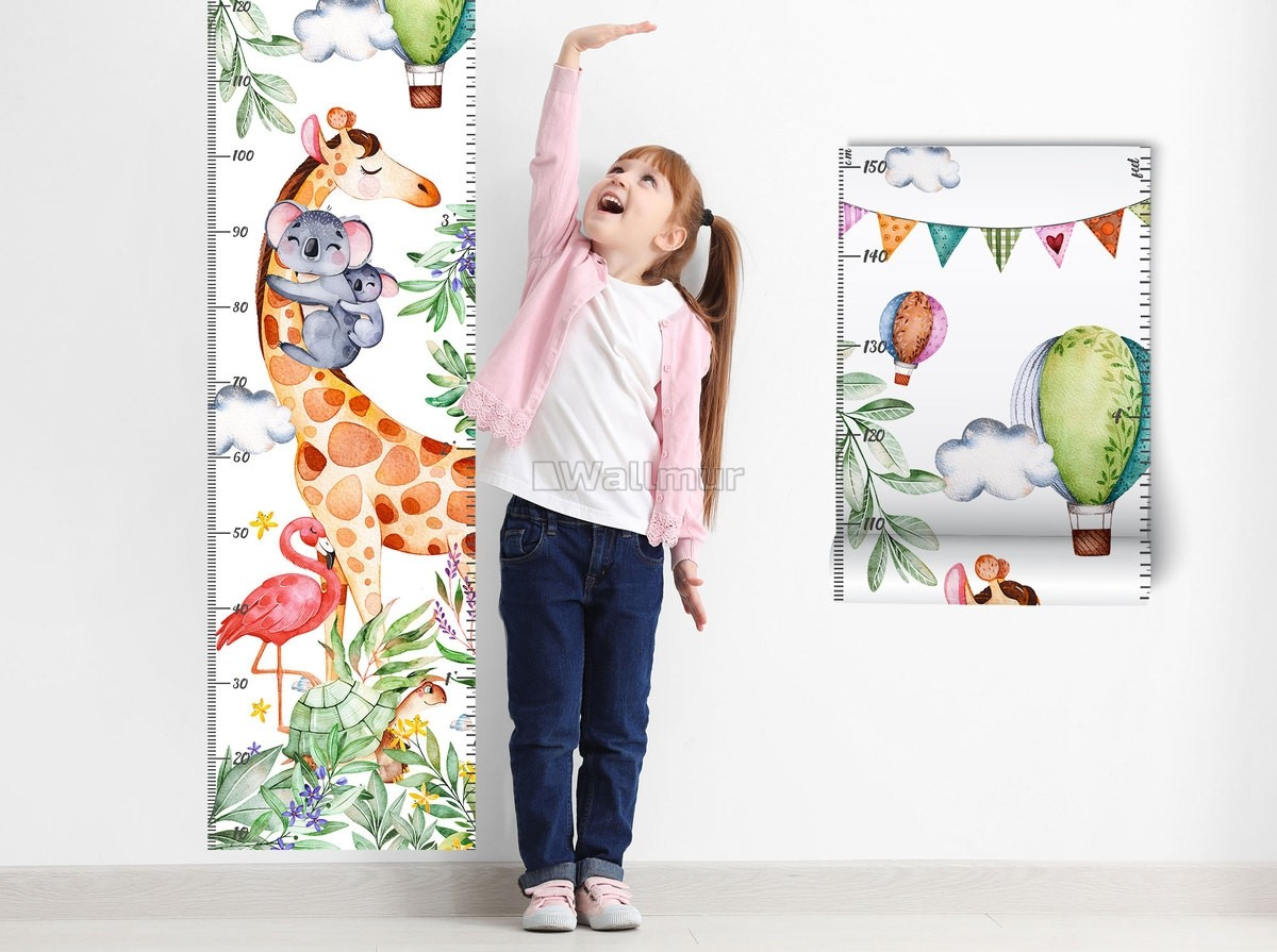 Kids Height Chart with Tropical Animals Wall Decal Sticker
