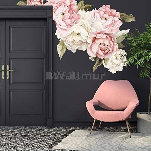 Nursery Pink White Peony Floral Bouquets Wall Decal Sticker