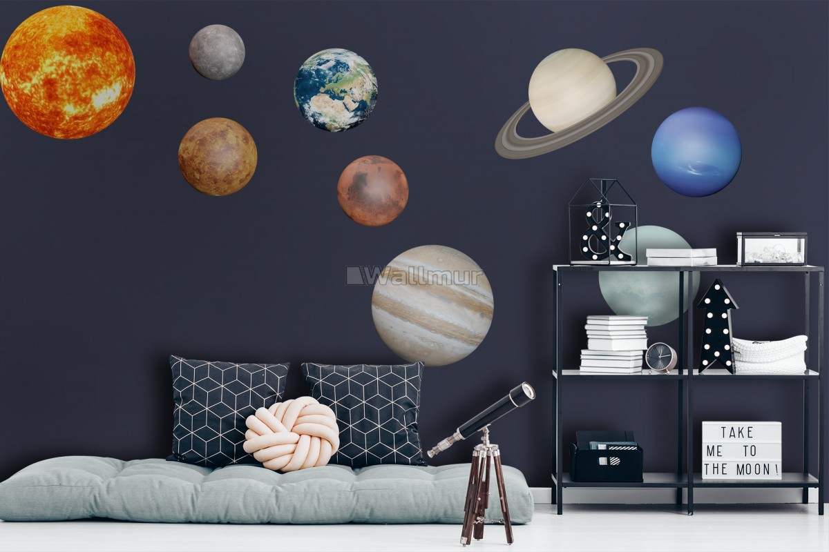 Solar System Sun and Planets Wall Decal Sticker