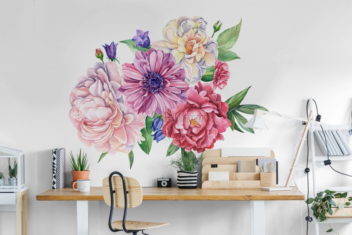 Watercolor Pink Peony Tulip Daisy Floral Bouqet Wall Decal Sticker