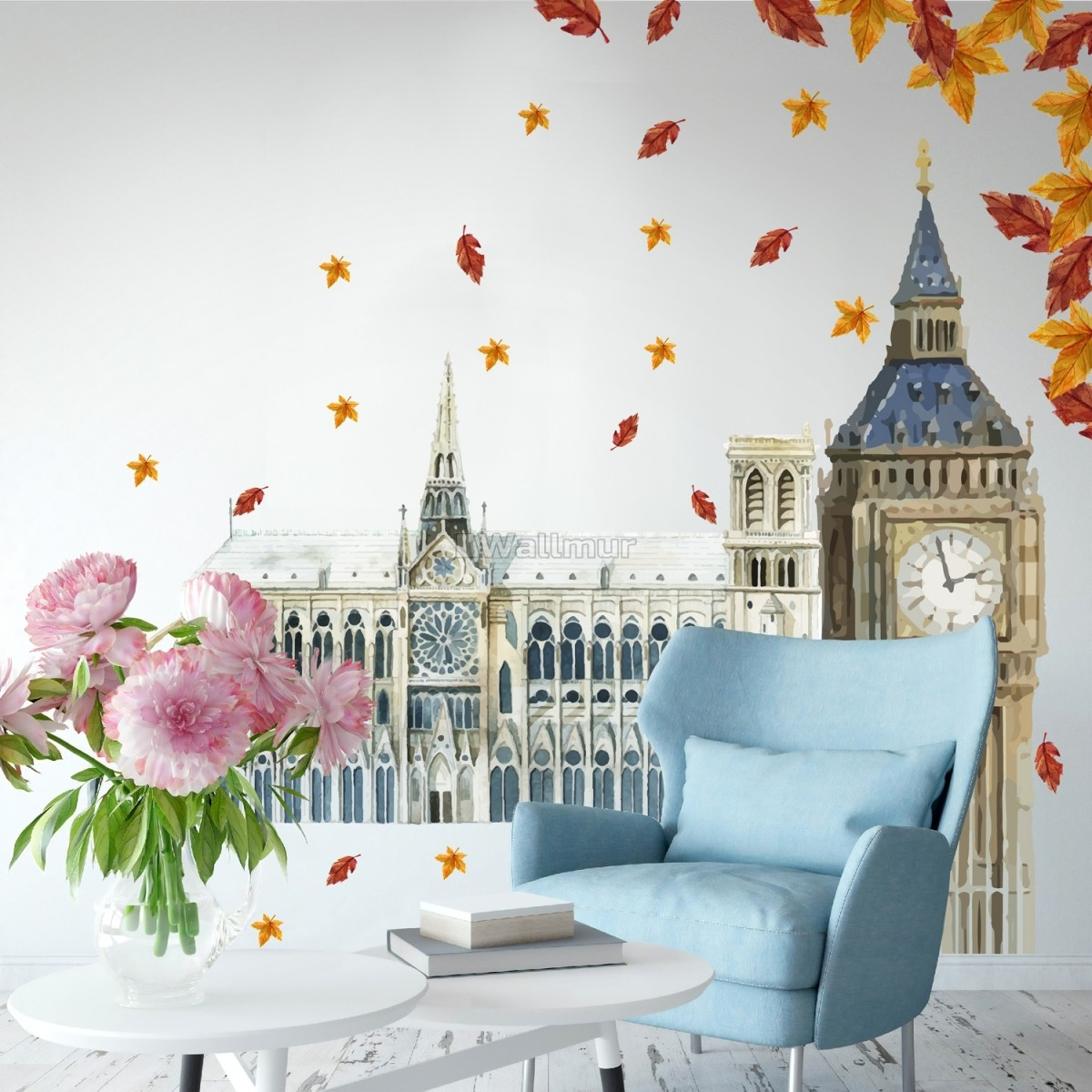 London Big Ben and Westminster with Autumn Leaves Wall Decal Sticker