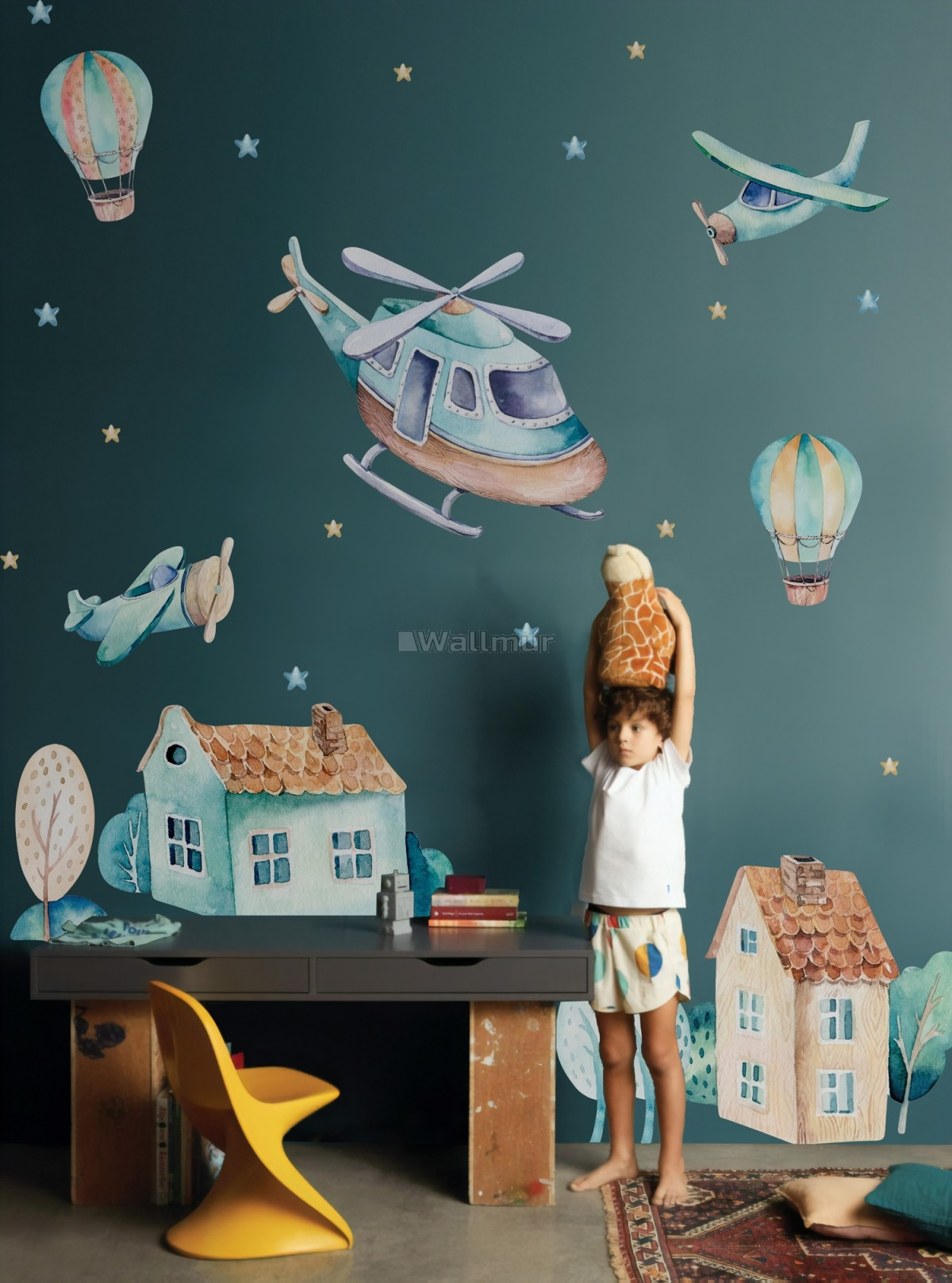 Kids Cartoon Village for Boys Watercolor Aircraft and Hot Air Balloon Wall Decal Sticker