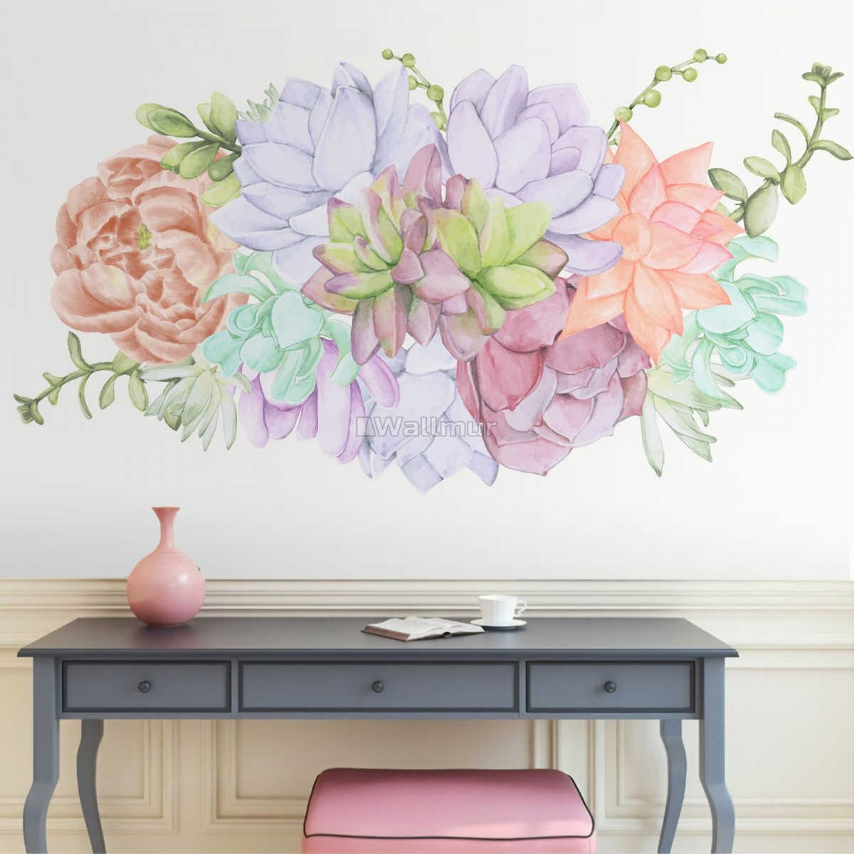 Watercolor Soft Echeveria Cactus Florals Wall Decal Sticker