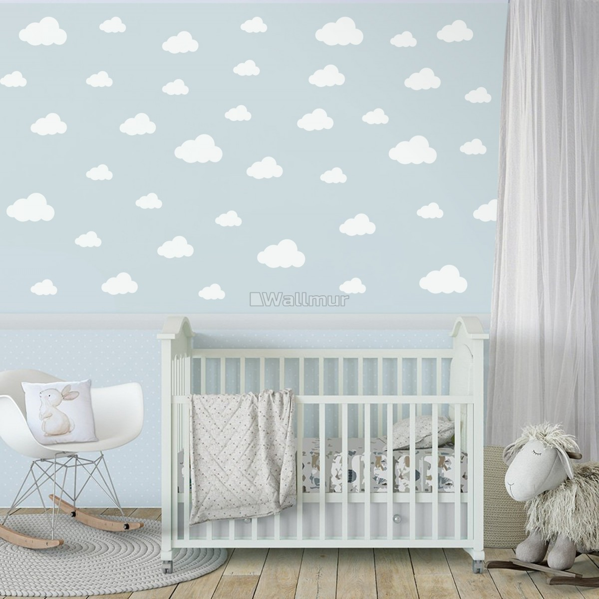 Nursery White Little Cloud Wall Decal Sticker