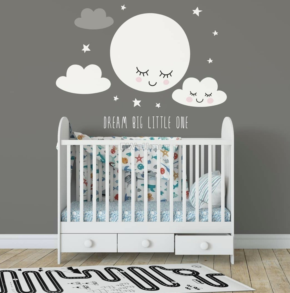 White Cute Fullmoon with Clouds Wall Decal Sticker