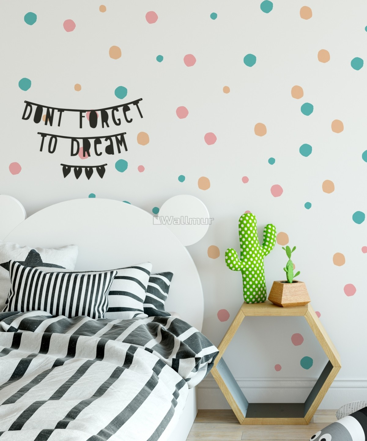 Pink Blue Colorful Doodle Polka Dots Wall Decal Sticker Wallmur
