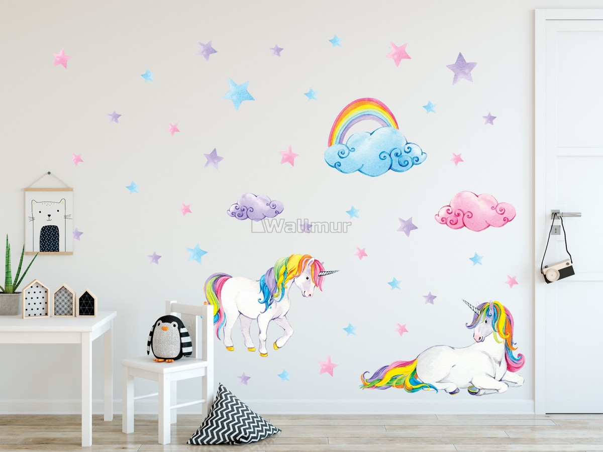 Cute Unicorn with Rainbow Wall Decal Sticker