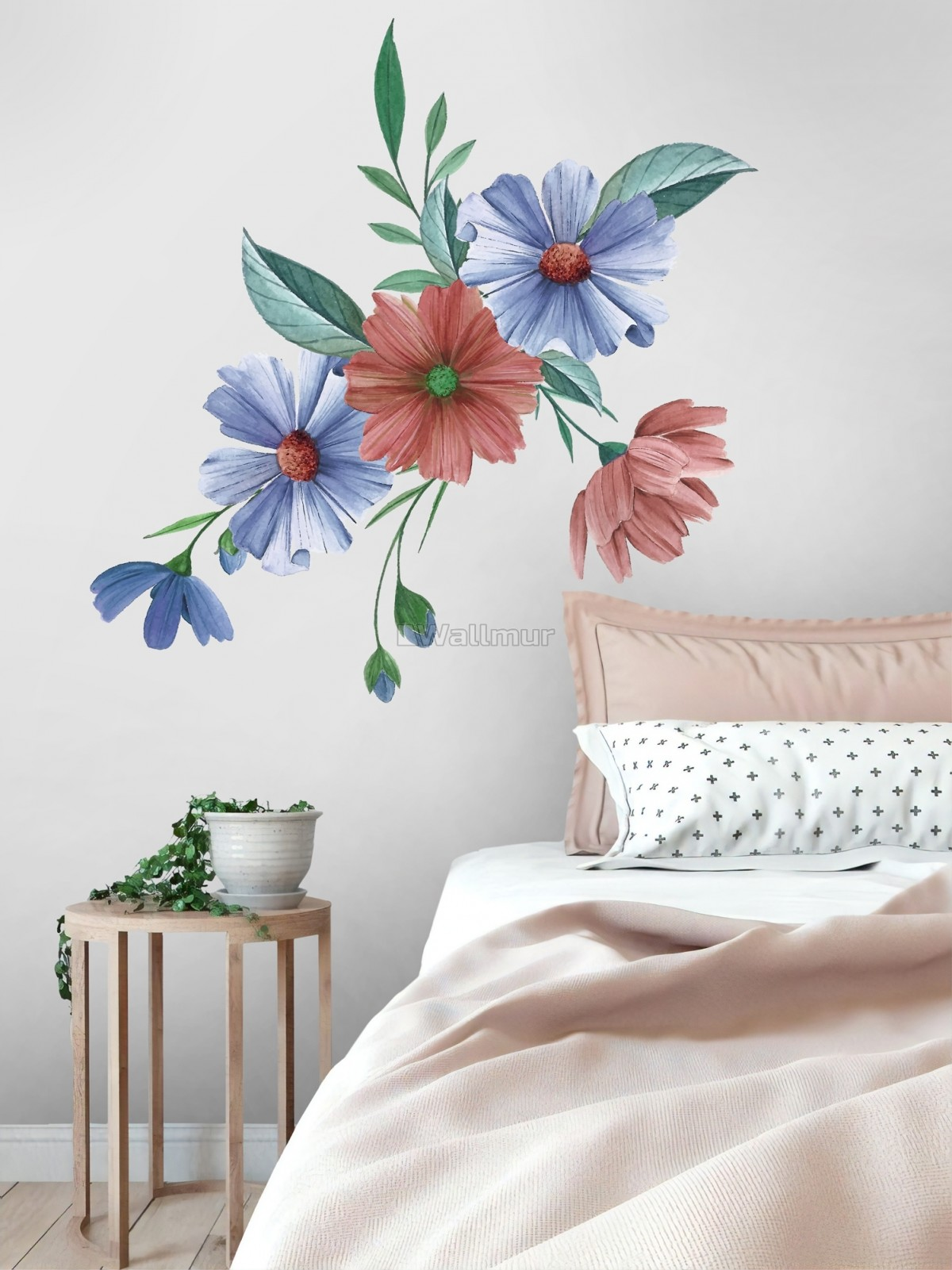 Blue Red Watercolor Daisy Floral Bouqet Wall Decal Sticker