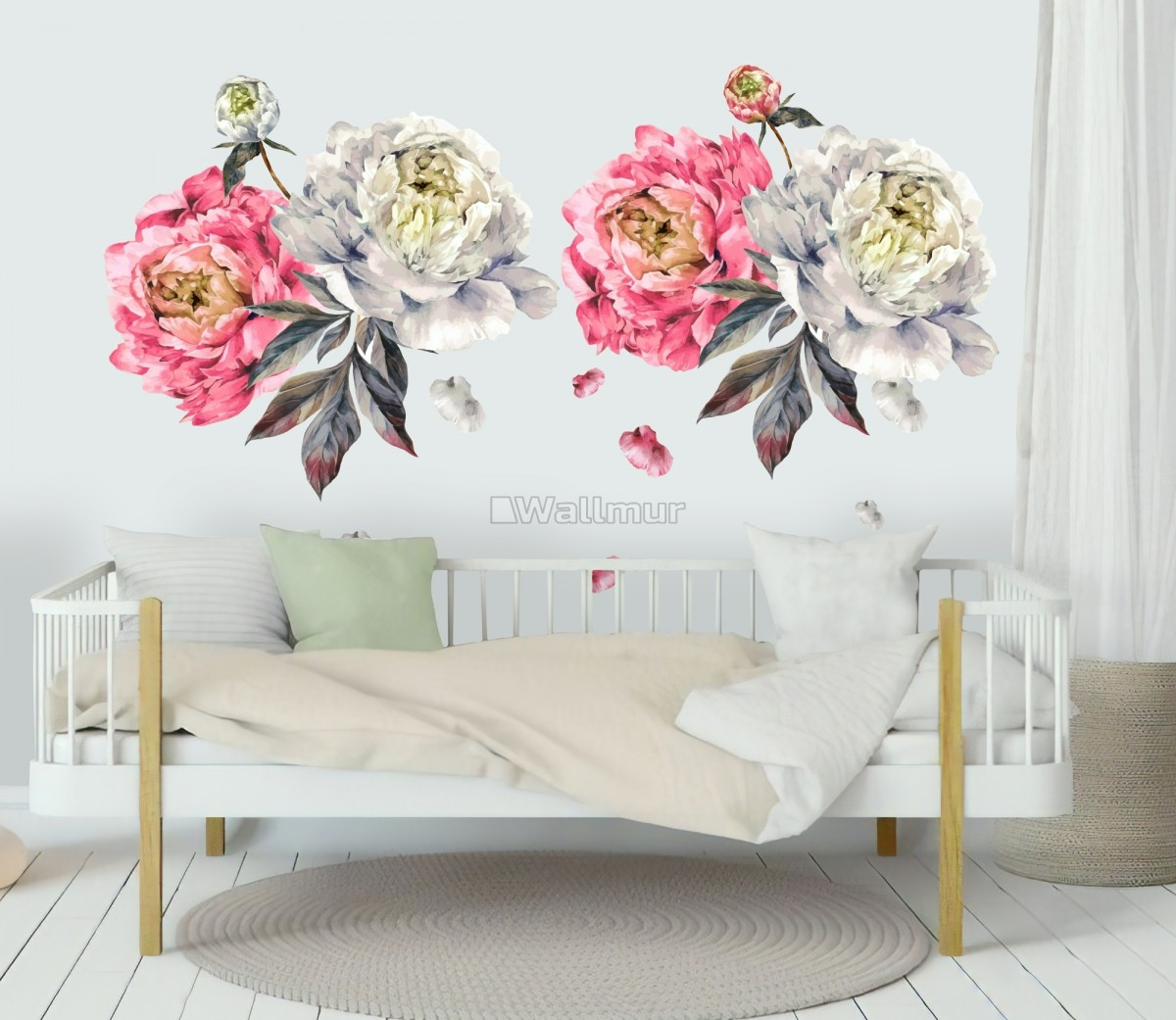 Kids Watercolor Pink White Florals Wall Decal Sticker
