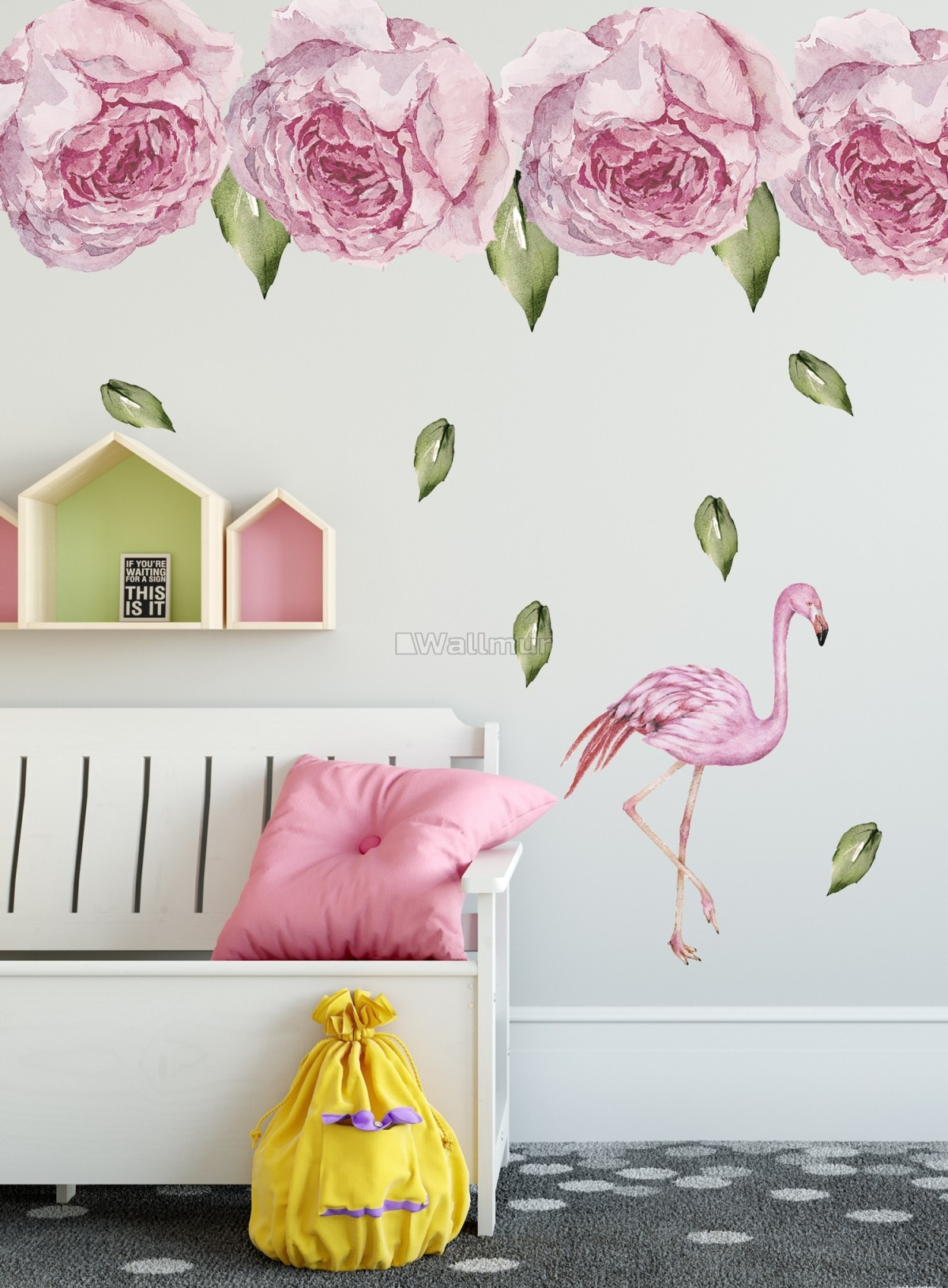 Pink Peony Floral and Flamingo Wall Decal Sticker