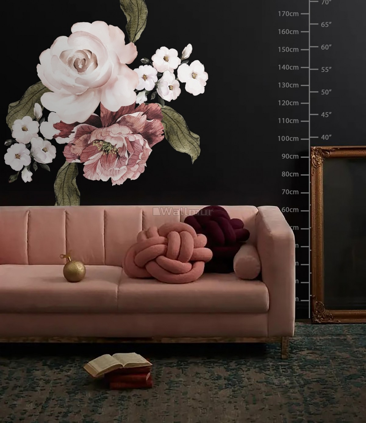 Pink Rose Red Peony Floral Bouqet Wall Decal Sticker