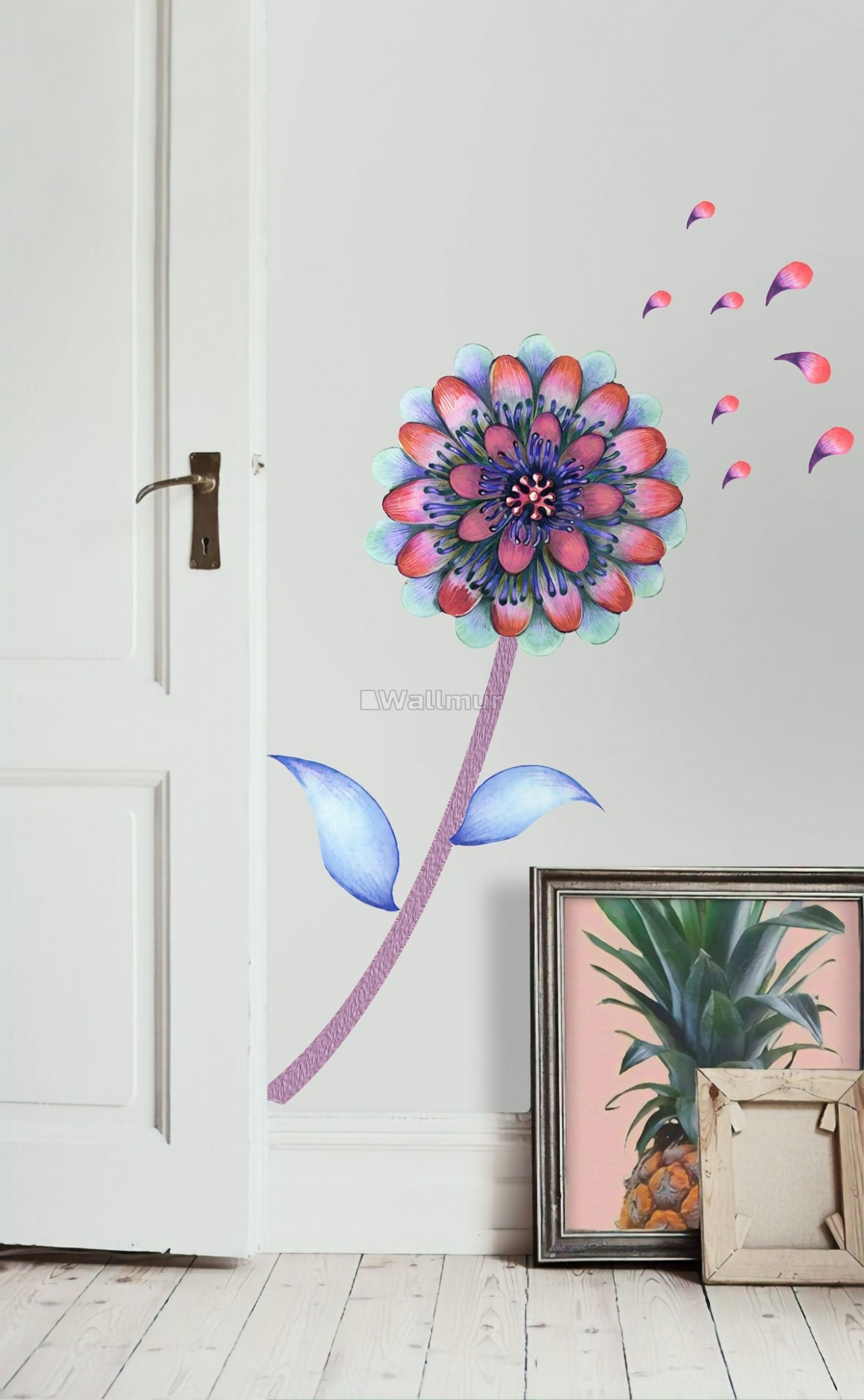 Watercolor Colorful Dahlia Florals Wall Decal Sticker