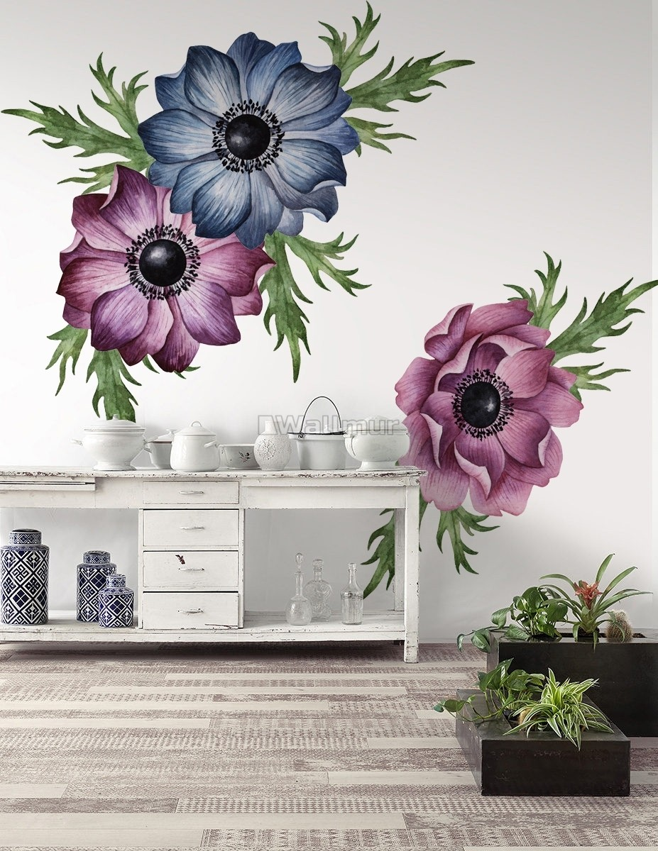 Watercolor Dark Blue Red Anemone Florals Wall Decal Sticker