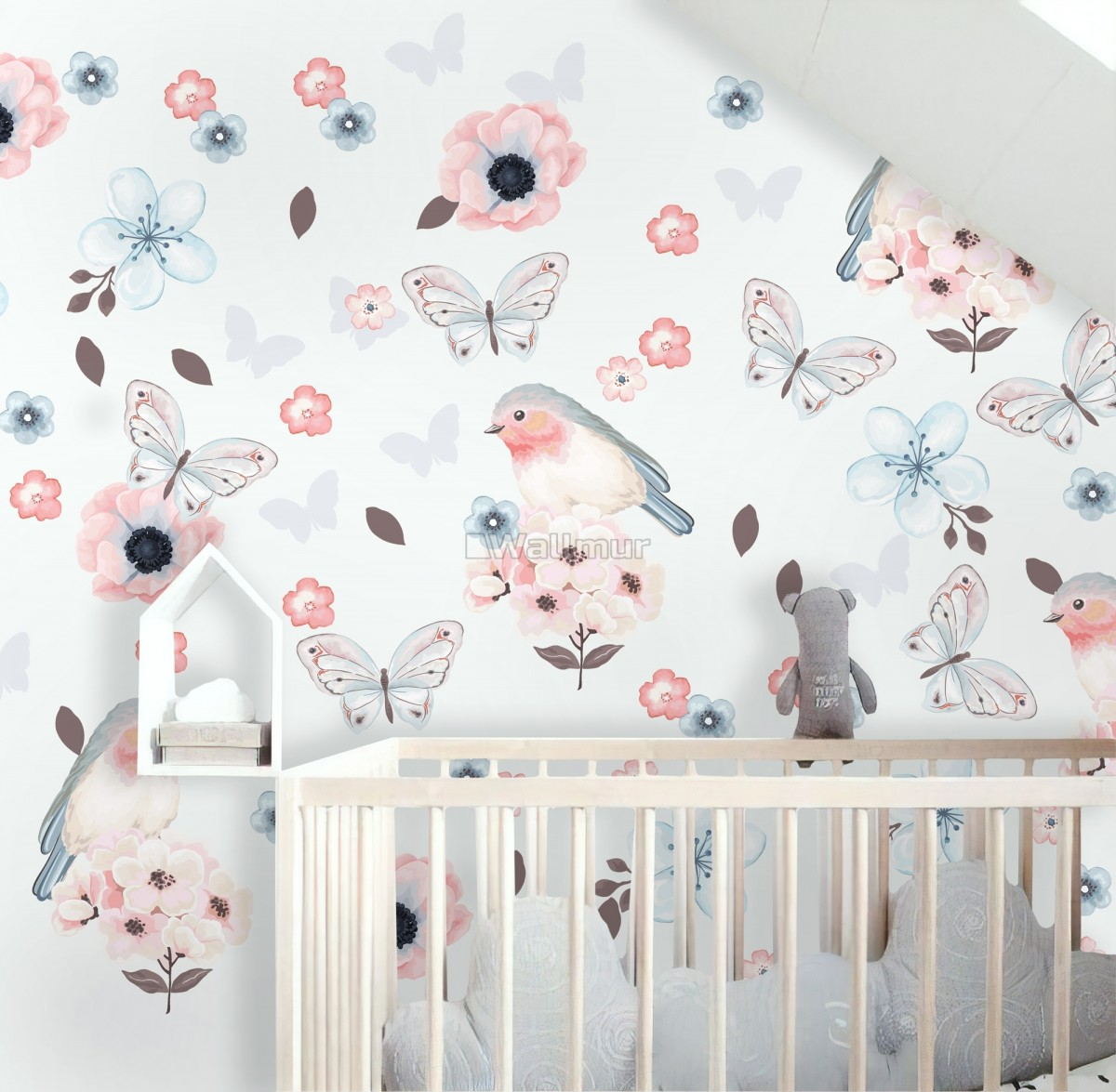Watercolor Pink Blue Florals with Birds and Butterfly Wall Decal Sticker