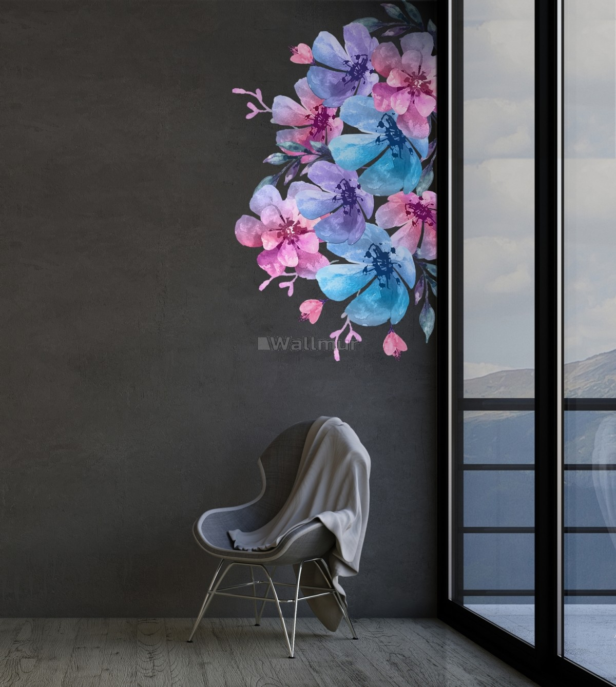 Watercolor Pink Blue Gardenia Floral Bouqets Wall Decal Sticker
