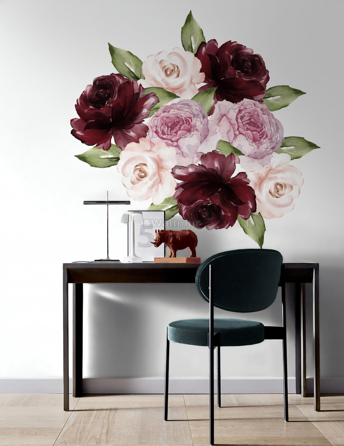 Watercolor Red Pink Peony Floral Wall Decal Sticker