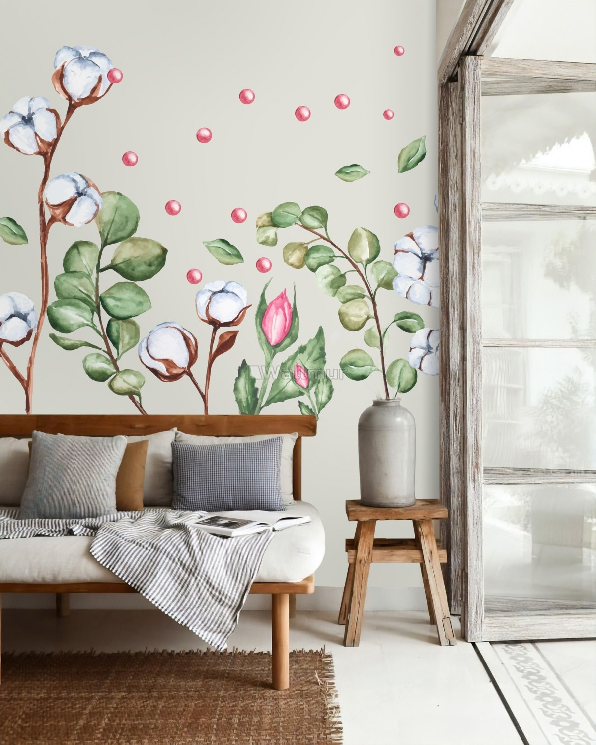 White Cotton Florals with Green Leaf and Pink Rosebud Wall Decal Sticker