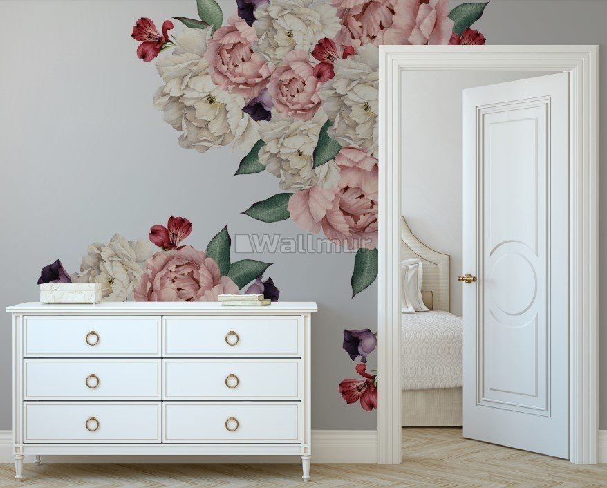 White Pink Peony Florals with Red Purple Tulips Wall Decal Sticker