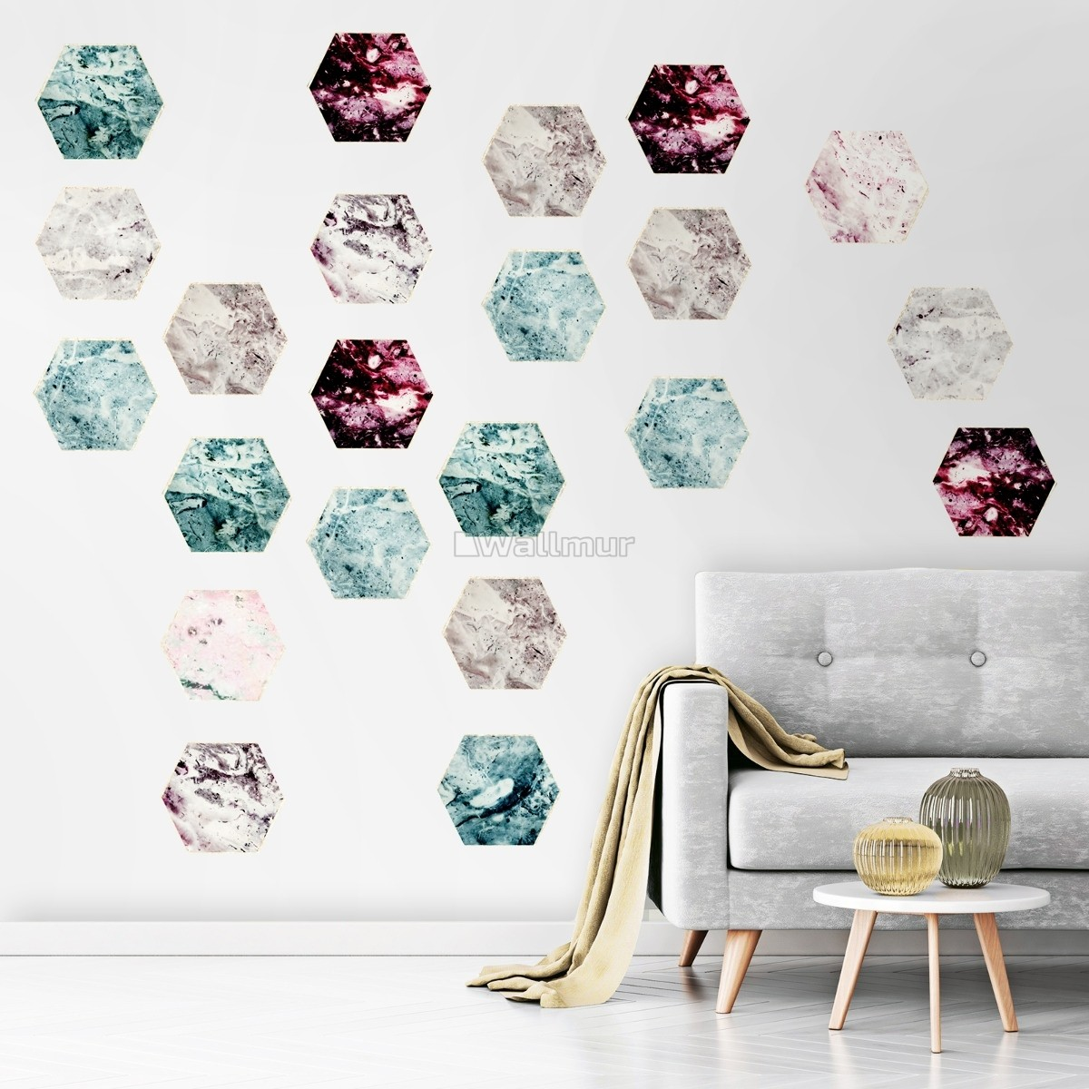 Geometric Marble Style Honeycomb Wall Decal Sticker