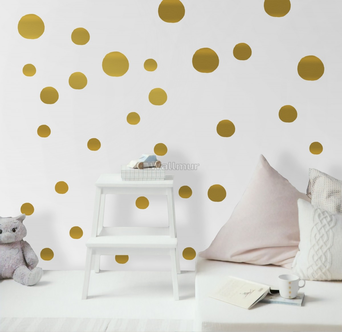 Gold Polka Dots Wall Decal Sticker