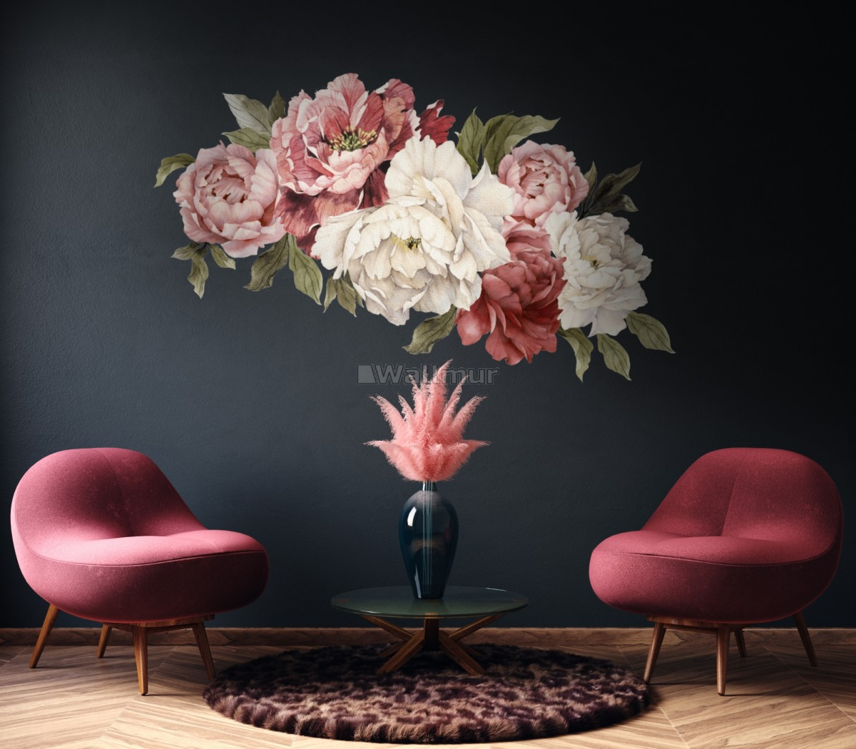 Soft Red Peony Floral Wall Decal Sticker