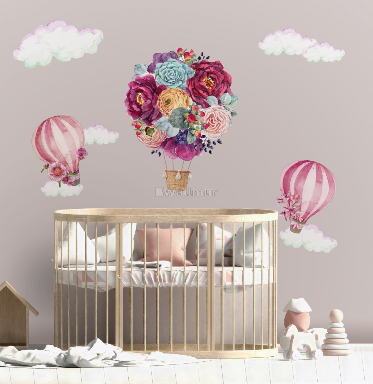 Colorful Floral Bouqet Hot Air Balloon and Pink Clouds Wall Decal Sticker