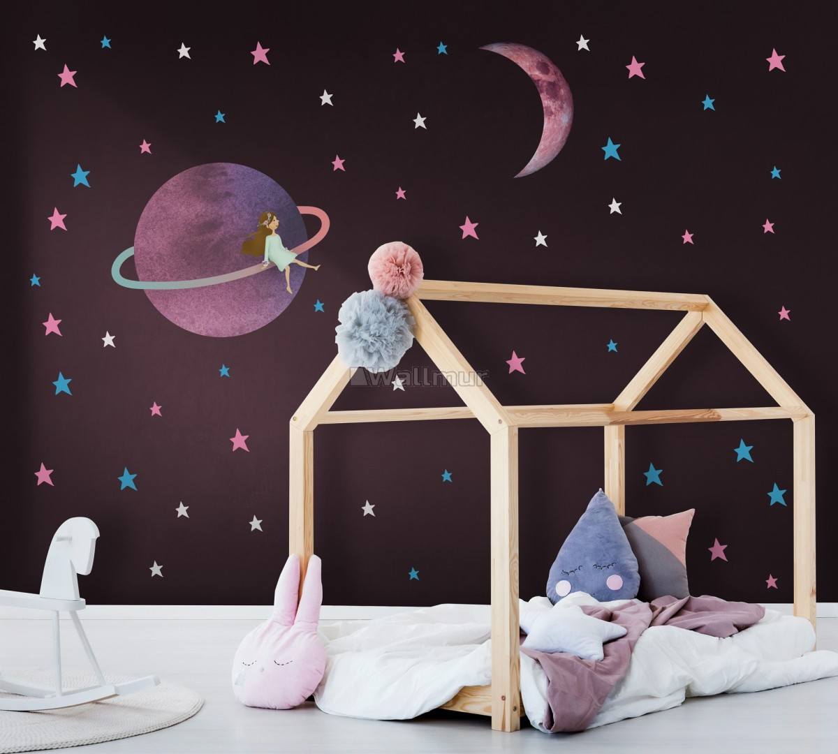 Colorful Space with Cute Little Girl on the Saturn Rings and Pink Moon Wall Decal Sticker