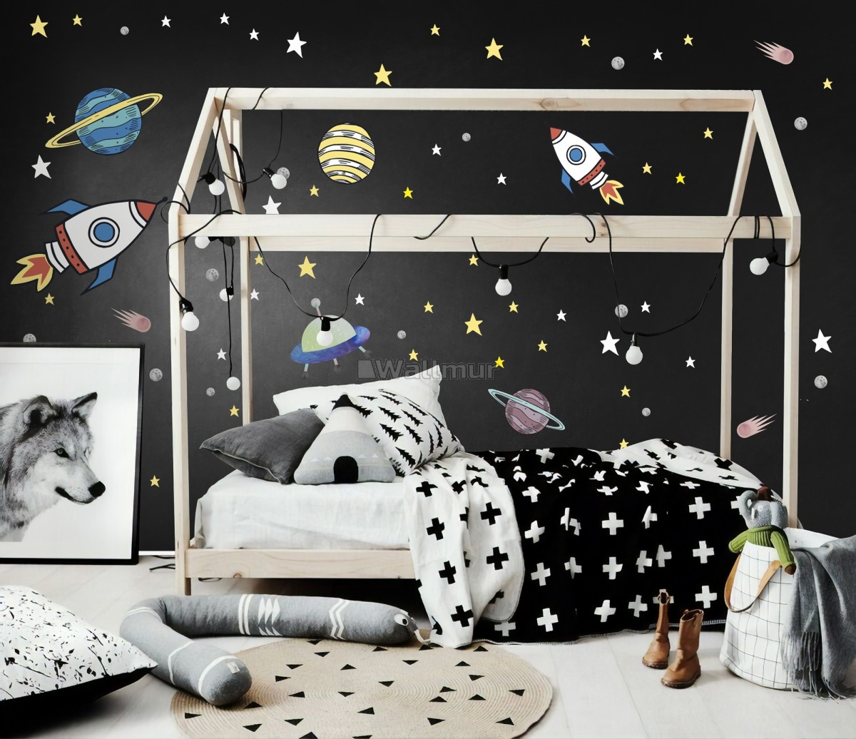 Colorful Space with Little Falling Stars and Planets Wall Decal Sticker
