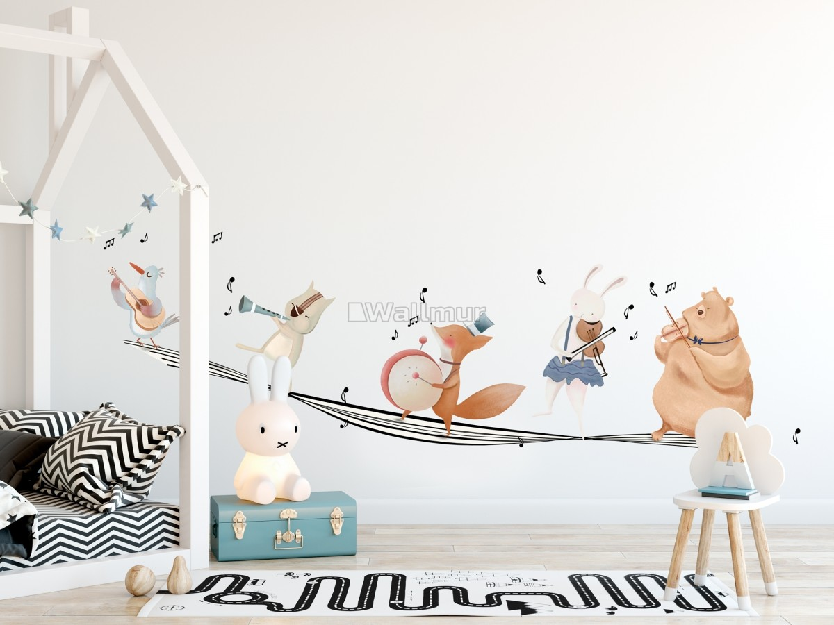 Cute Animals Singing on the Music Notes Wall Decal Sticker