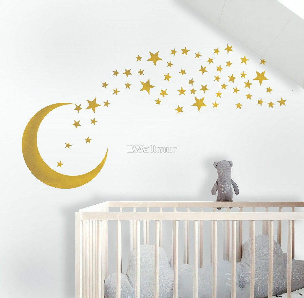 Gold Moon and Little Stars Wall Decal Sticker