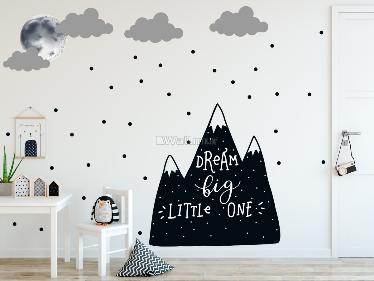 Kids Black Mountains and Dark Moon Wall Decal Sticker