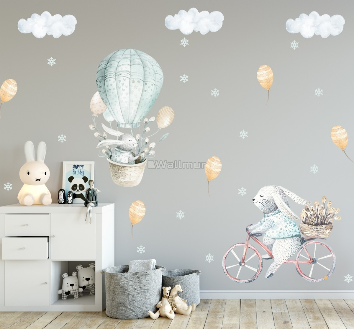 Kids Cartoon Rabbit with Balloons and Snowflake Wall Decal Sticker