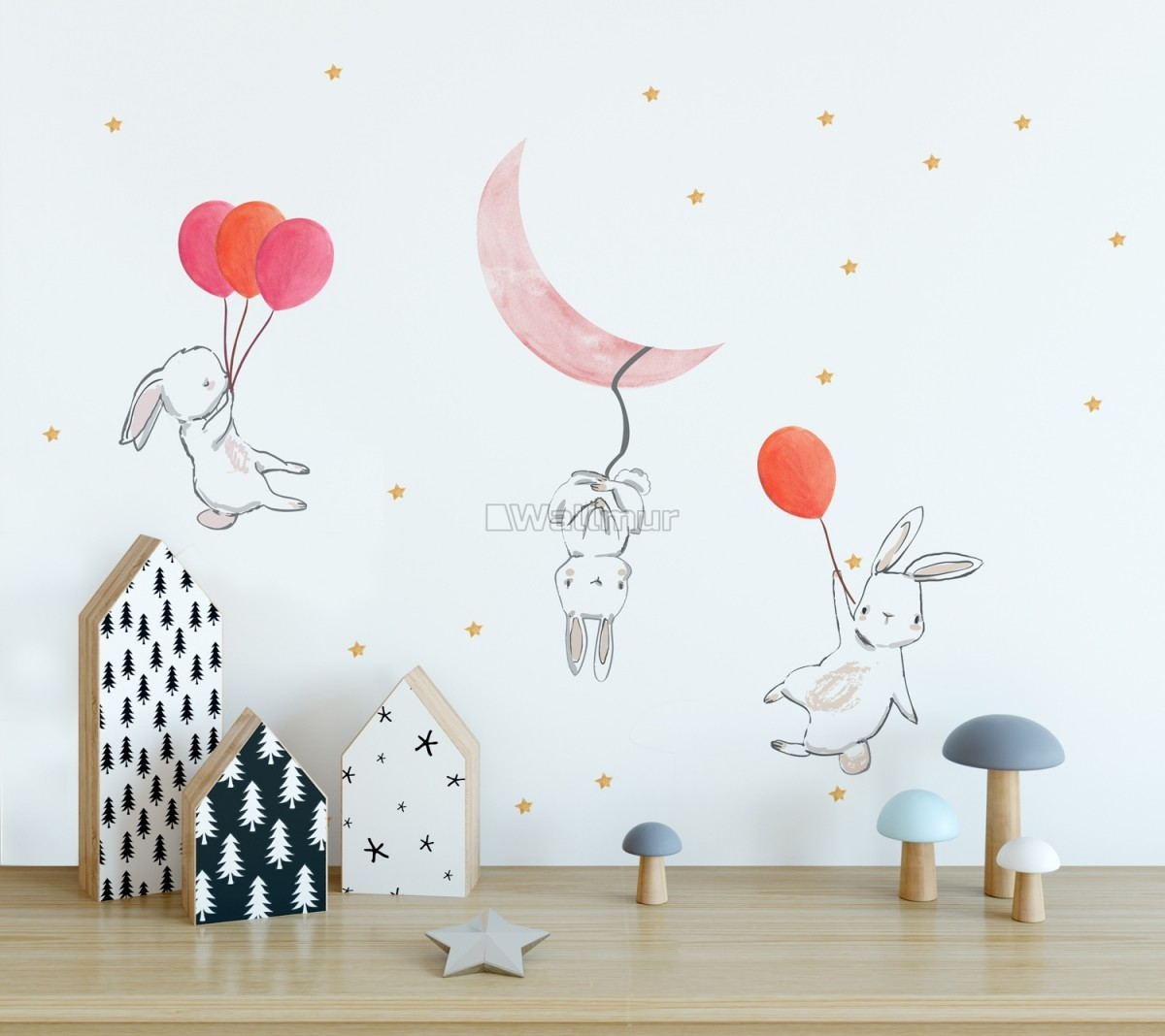 Kids Cartoon Rabbits with Colorful Balloons and Moon Wall Decal Sticker