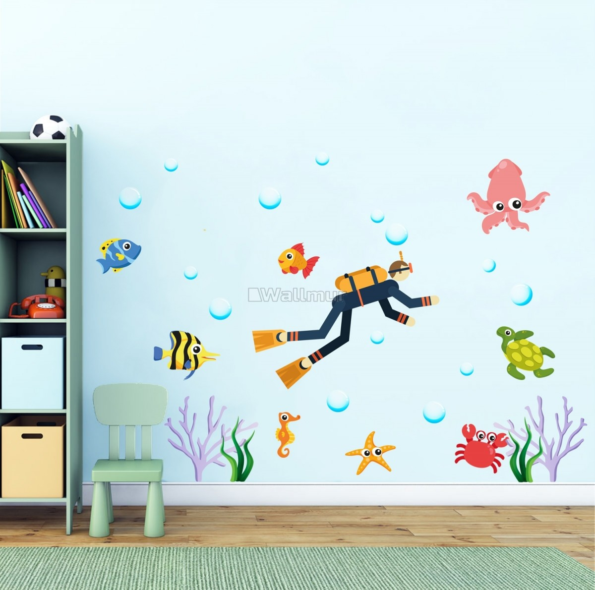 Kids Cartoon Sea Underwater with Fish Man Wall Decal Sticker