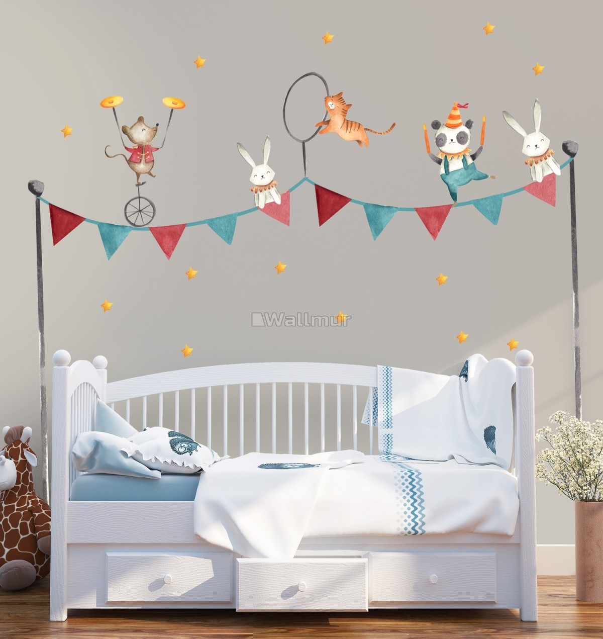 Kids Circus Safari Animals Wall Decal Sticker