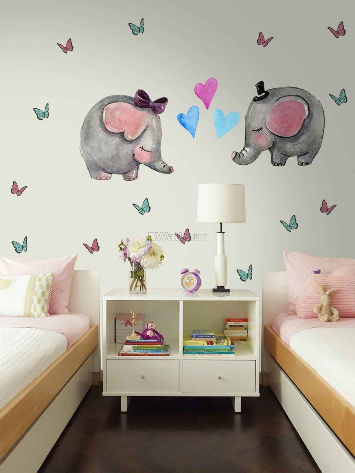 Kids Cute Elephant and Little Butterfly Wall Decal Sticker