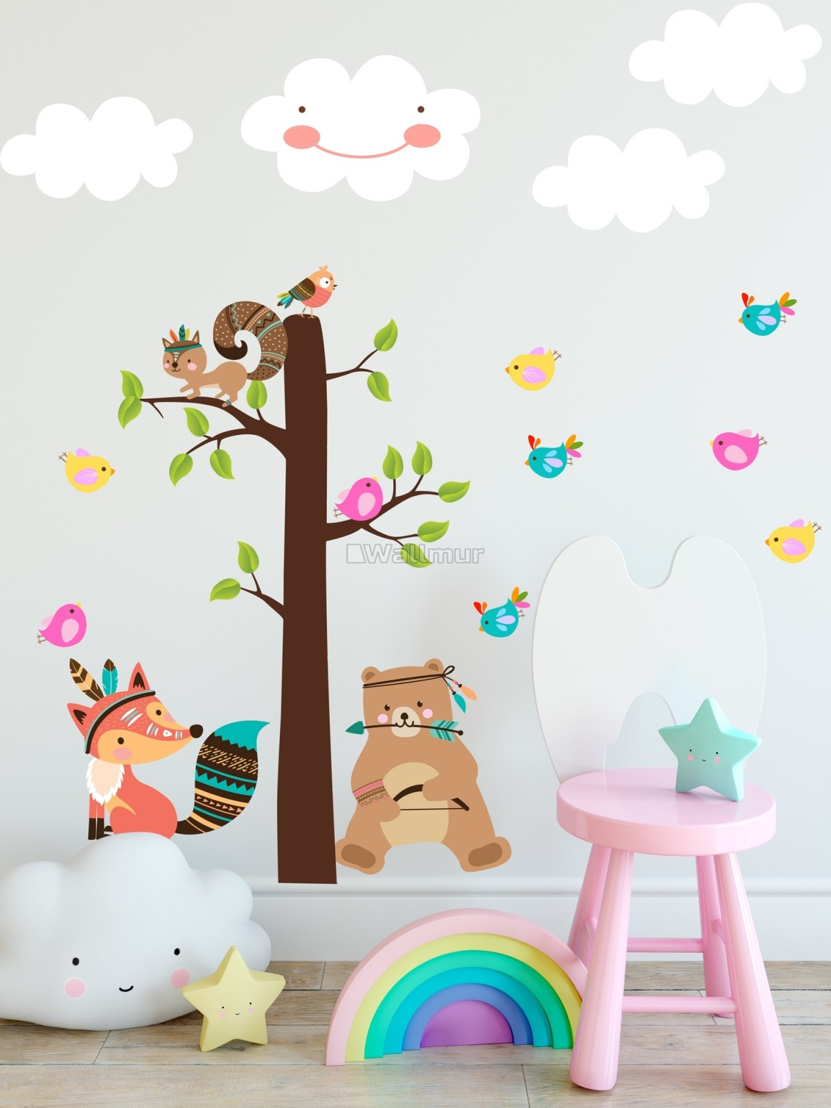 Kids Cute Fox and Bear and Cartoon Tree with Little Birds Wall Decal Sticker