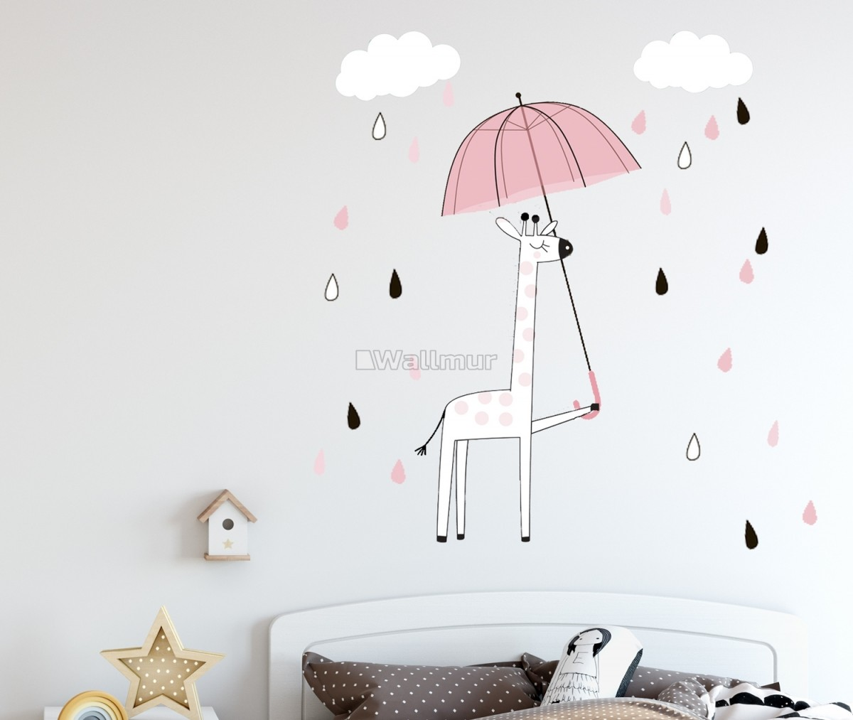 Kids Cute Giraffe with Colorful Raindrops and White Clouds Wall Decal Sticker