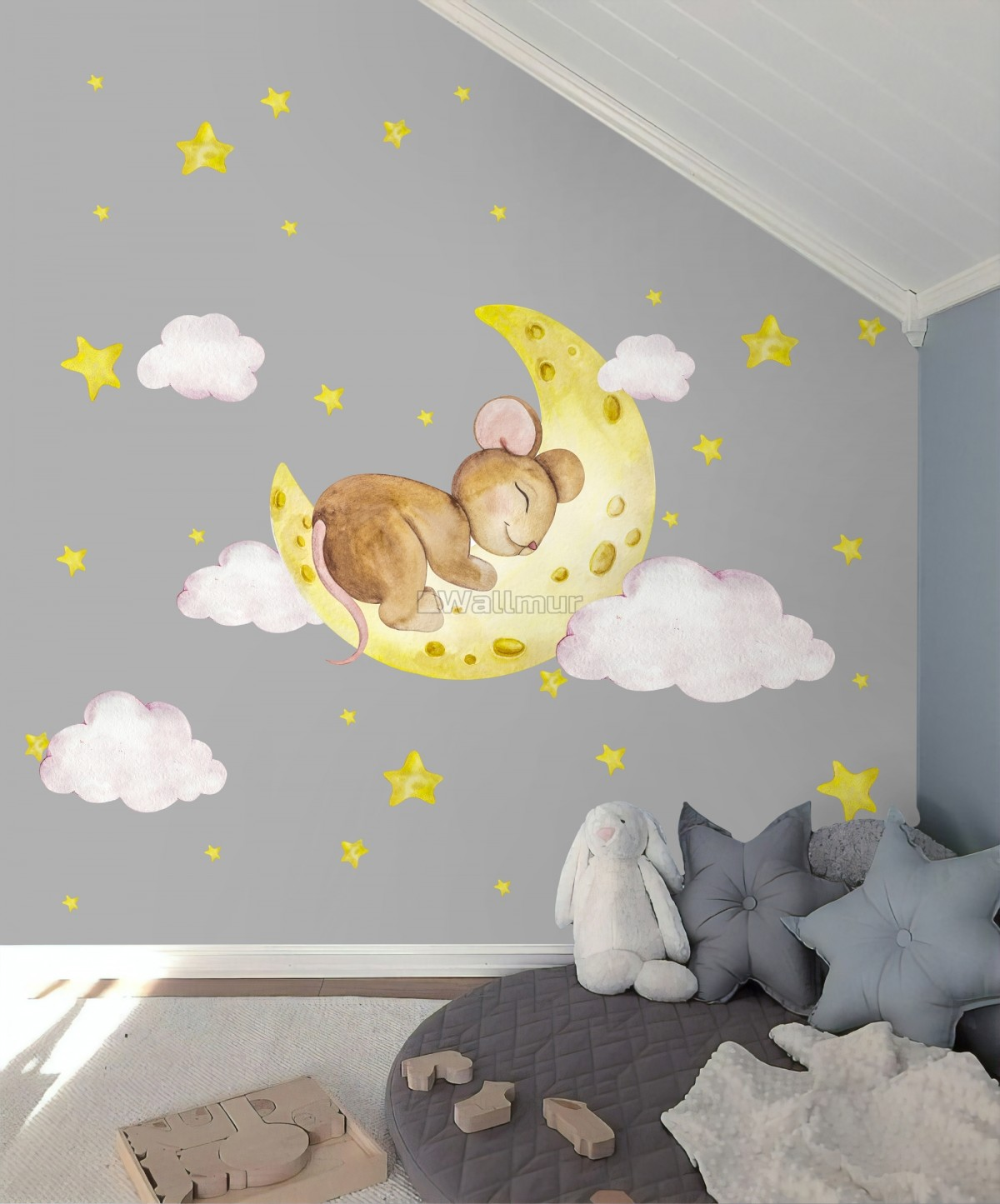 Kids Cute Mouse on the Crescent Moon and Watercolor Yellow Stars Wall Decal Sticker