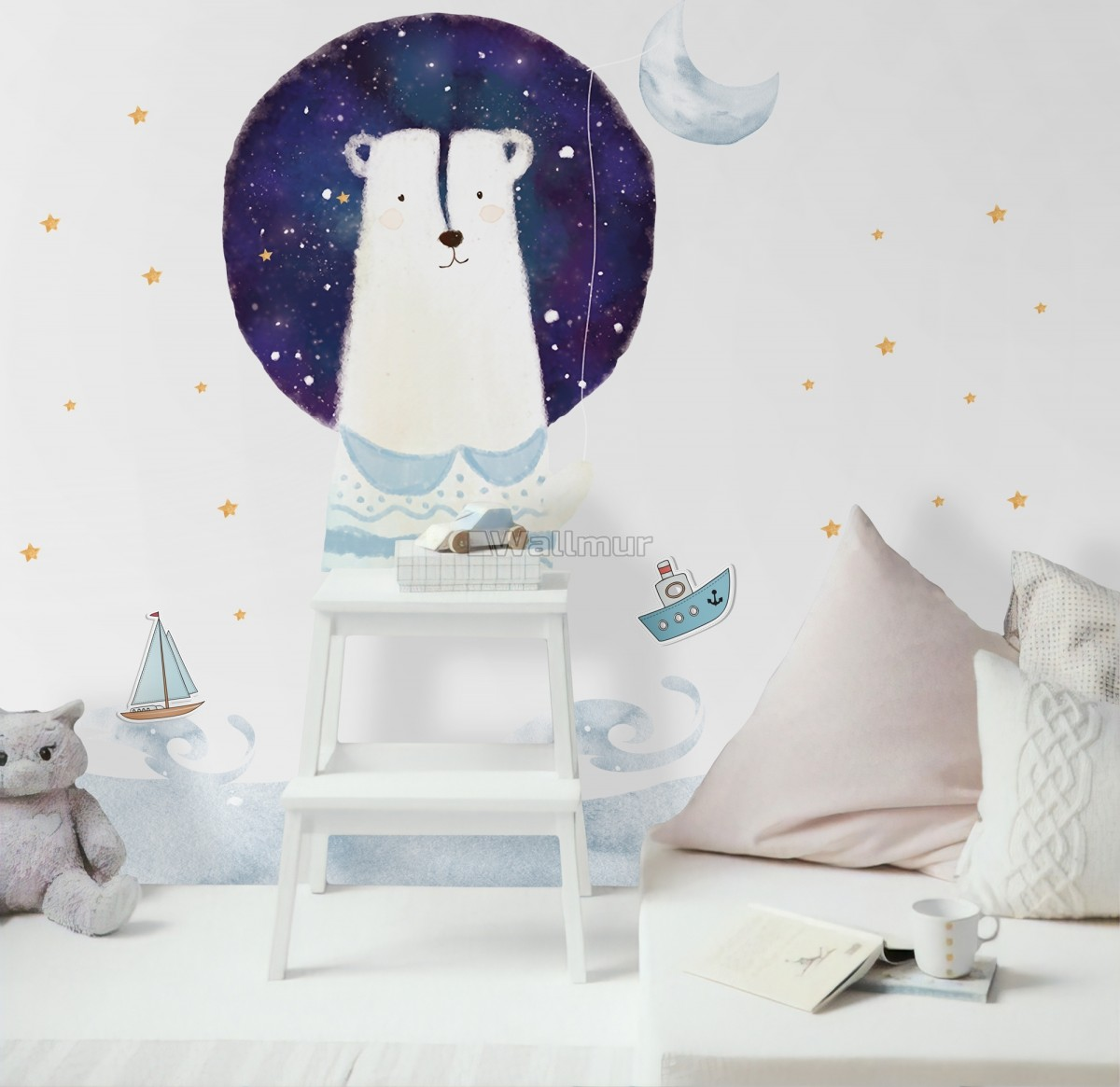 Kids Cute White Bear with Watercolor Moon and Yellow Stars Wall Decal Sticker