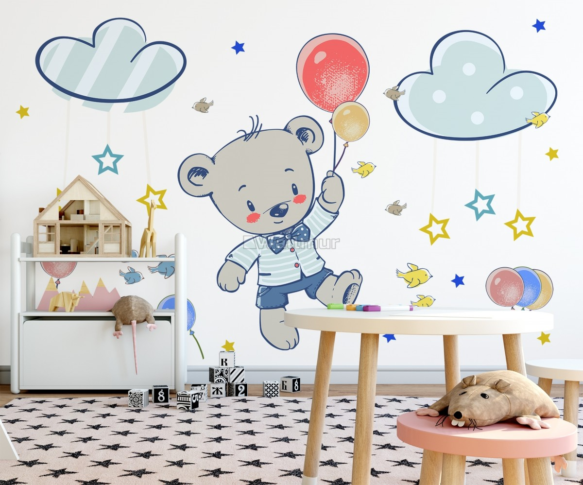 Kids Flying Cute Bear and Colorful Stars in the Cartoon Sky Wall Decal Sticker