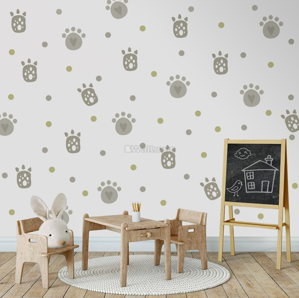 Kids Gray Cat Paw with Polka Dots Wall Decal Sticker