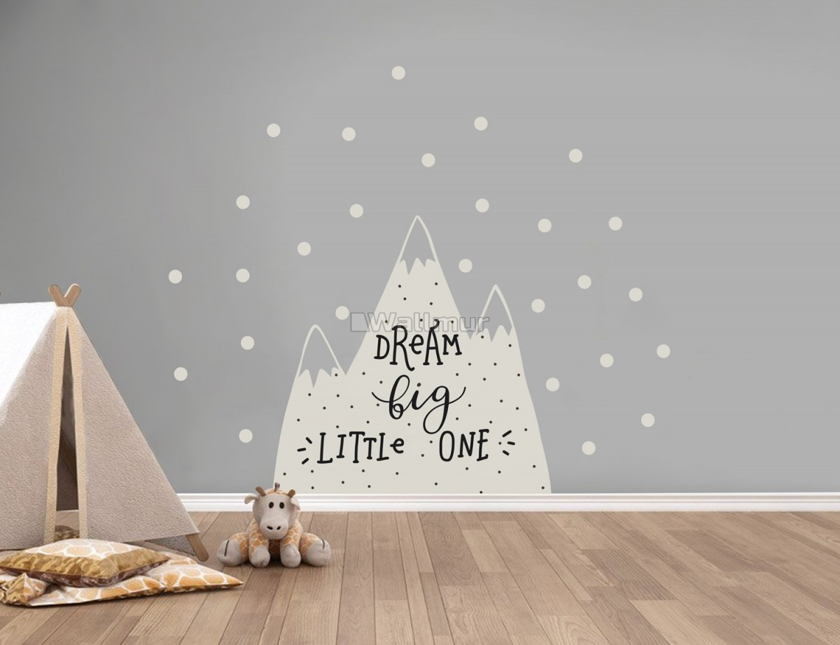 Kids Gray Mountains and White Snow Wall Decal Sticker